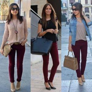 New Zara Trafuluc Maroon Burgundy Skinny Jeans